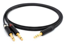 Mogami 3106 Mikrofonkabel Stereo, Ø 2 x 4,8 mm HiFi Y-Audiokabel | Neutrik Gold 6,3mm TRS Klinke - Neutrik 6,3mm TS klinke | HiFi